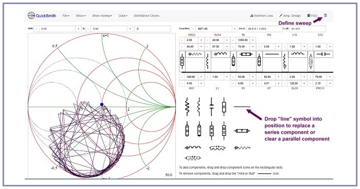 QuickSmith - An Online Smith Chart Based Linear Circuit Simulation